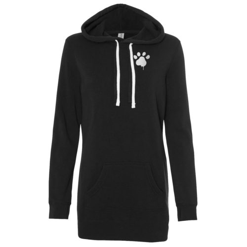 Watercolor Paw Embroidered Women's Long Pullover Hoodie