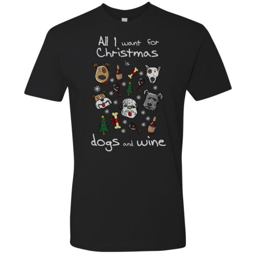Dogs & Wine For Christmas Premium Tee