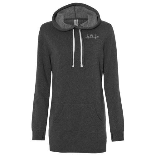 Paw Heartbeat Embroidered Women's Long Pullover Hoodie