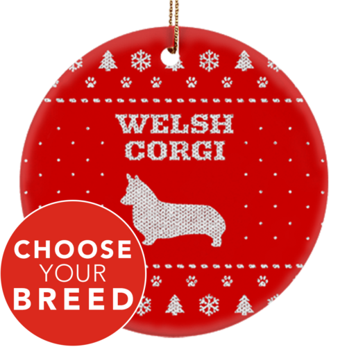 "Ugly Sweater ""Choose Your Breed"" Ceramic Circle Ornament"