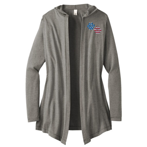 Flag Paws USA Embroidered Women's Hooded Cardigan
