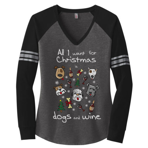 Dogs & Wine For Christmas Varsity V-Neck Long Sleeve Shirt
