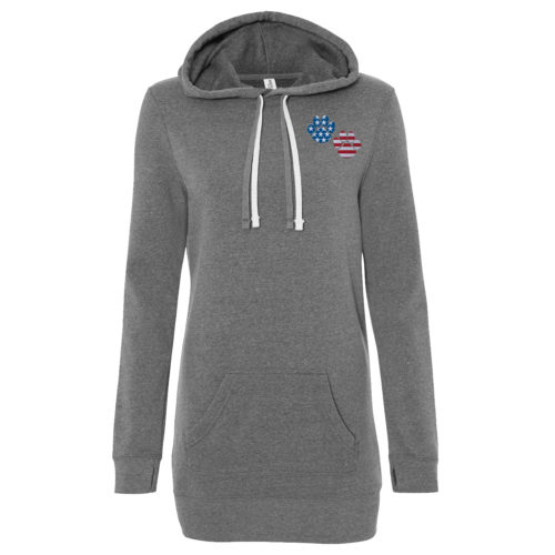 Flag Paws USA Embroidered Women's Long Pullover Hoodie