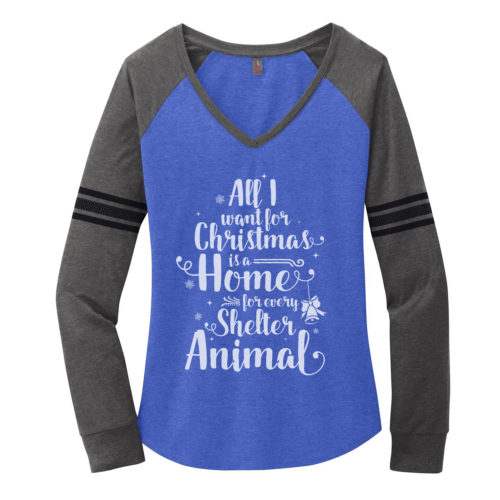 A Home For Every Shelter Animal Varsity V-Neck Long Sleeve Shirt