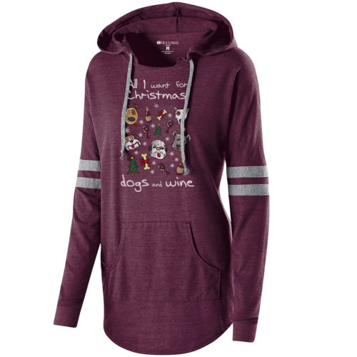 Dogs & Wine For Christmas Varsity Slouchy Hoodie