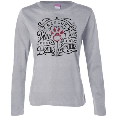 Rescue Dogs & Wine Fitted Long Sleeve Shirt