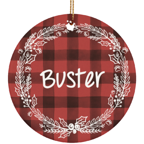 Holiday Flannel Personalized Ceramic Circle Ornament