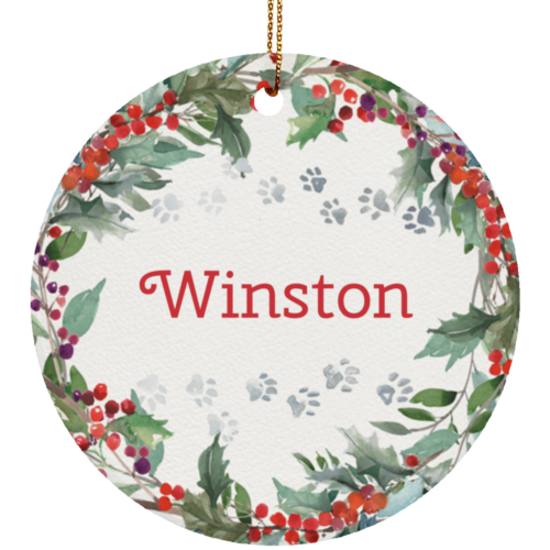 Holiday Watercolor Wreath Personalized Ceramic Circle Ornament