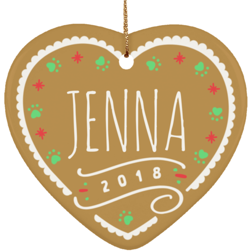 Gingerbread Personalized 2018 Ceramic Heart Ornament