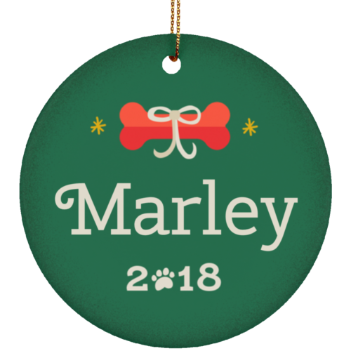 Classic Holiday Bone Personalized Ceramic Circle Ornament