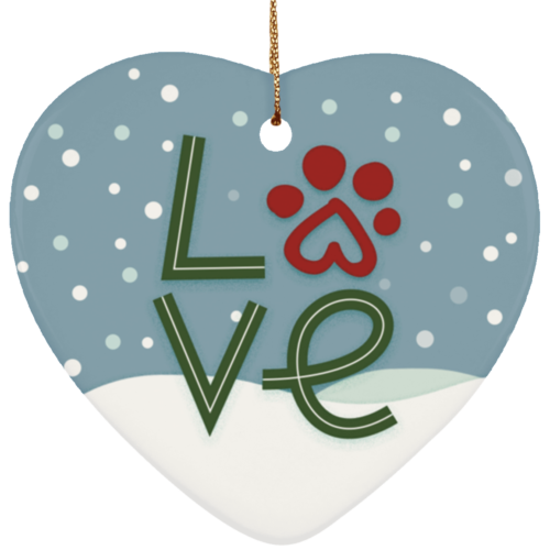 Love Paw Ceramic Heart Ornament