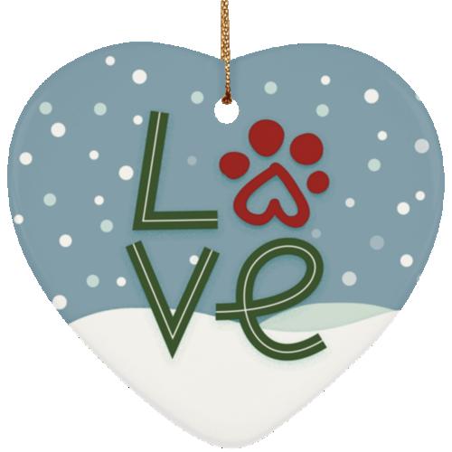 Love Paw Heart Ornament