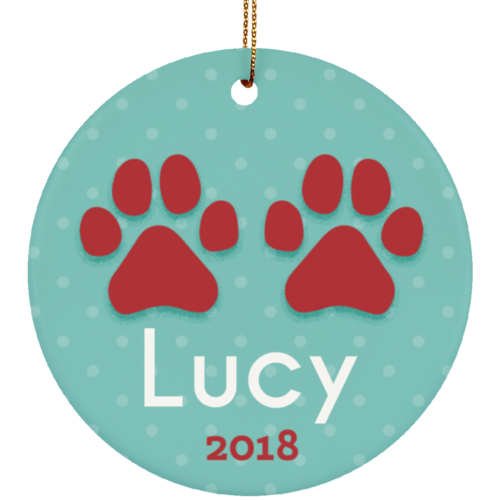 Paws 2018 Personalized Ceramic Circle Ornament