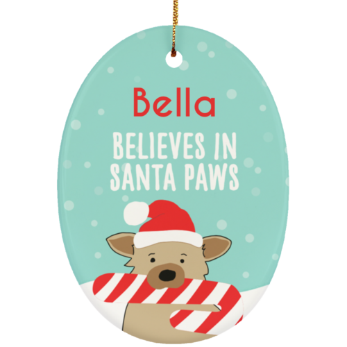 Santa Paws Personalized Ceramic Oval Ornament
