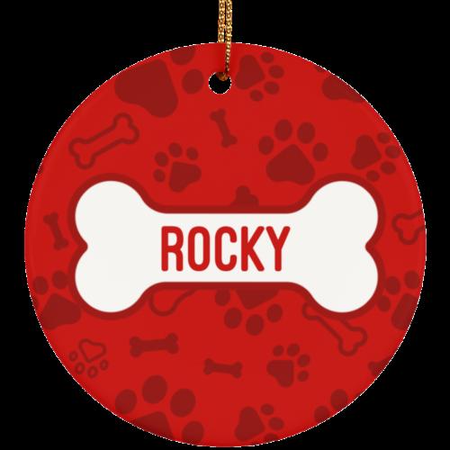 Red Bone Personalized Ceramic Circle Ornament