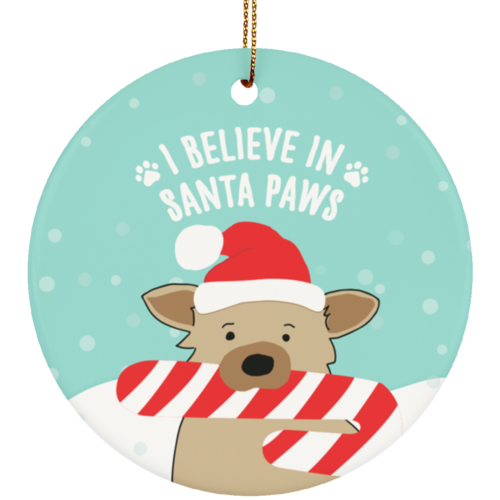 Santa Paws Ceramic Circle Ornament