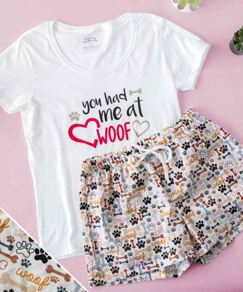 You Had Me At Woof Khaki PJ Shorts Set