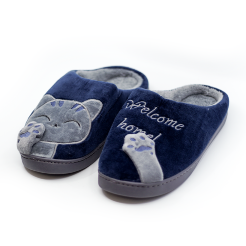 Welcome Home Navy Blue & Grey Kitty Cat Slippers