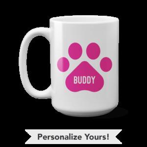 Pink Paw Personalized 15 oz. Mug
