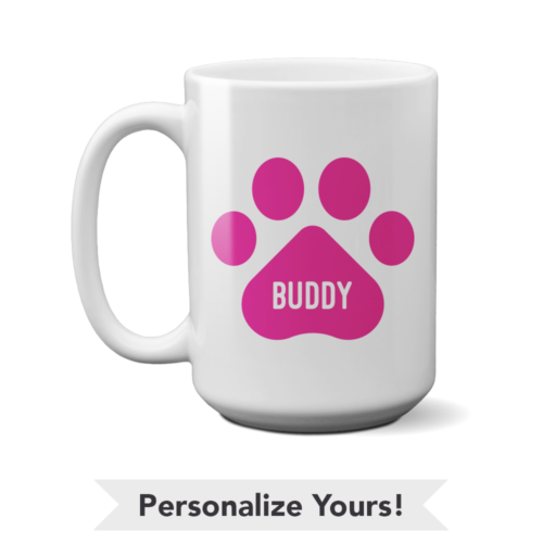 Pink Paw Personalized 15 oz. Mug