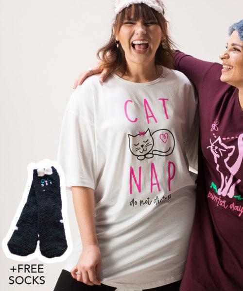Cat Nap One Size Sleepshirt + FREE SOCKS