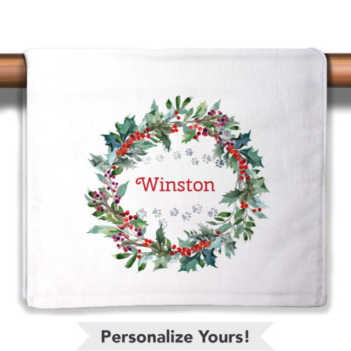 Holiday Watercolor Wreath Personalized Petite Decorative Towel