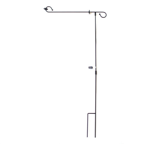 Garden Flag Pole With Stopper And Clips - Black Metal