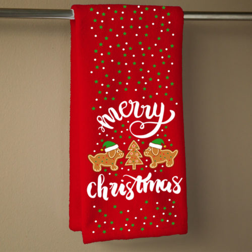 Gingerbread Dogs Hand Towel