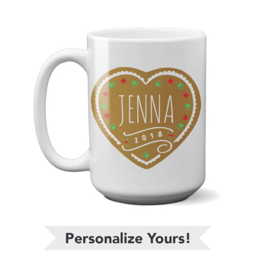 Gingerbread Heart Personalized 15 oz. Mug