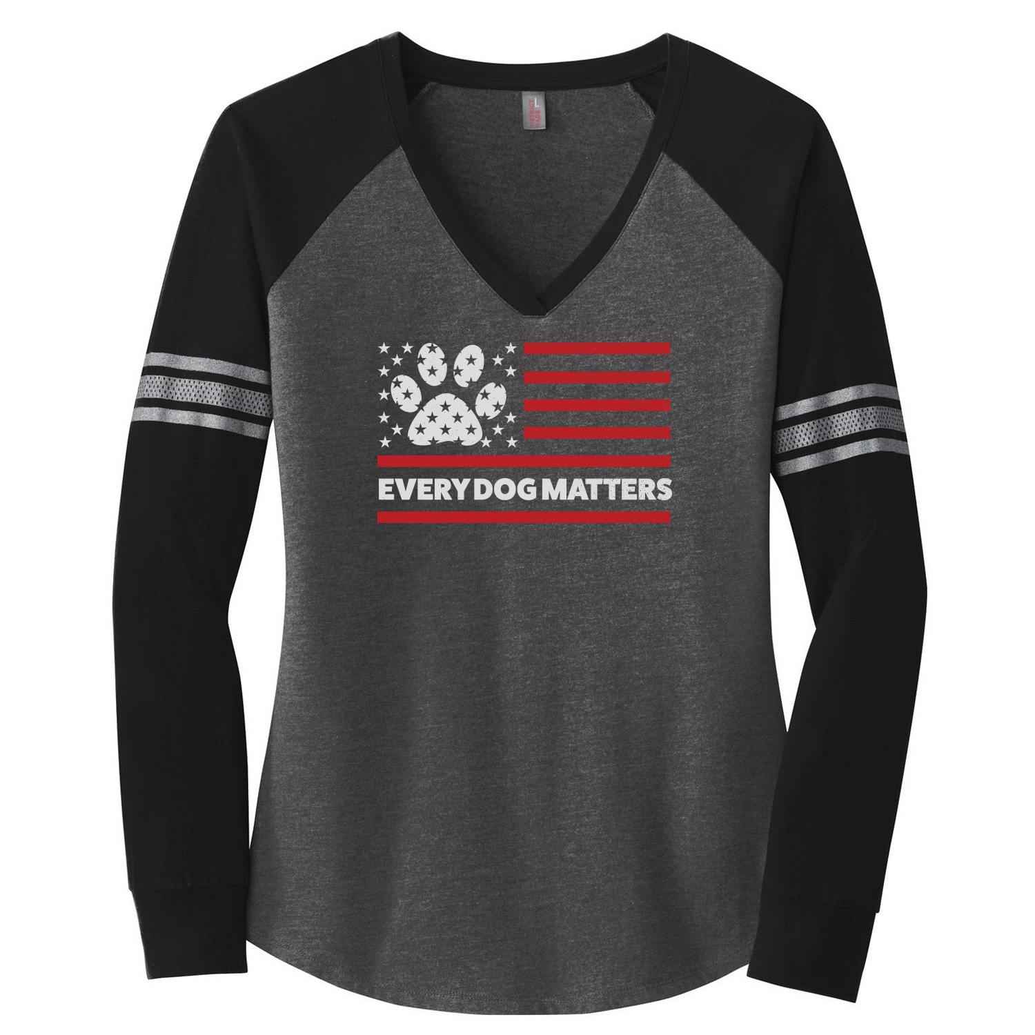 Image of Every Dog Matters Flag Varsity V-Neck Long Sleeve