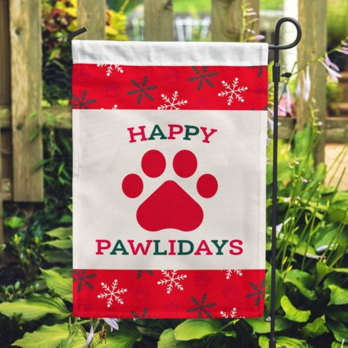 Happy Pawlidays Garden Flag