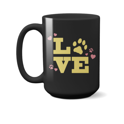 Love Paw 15 oz. Black Mug