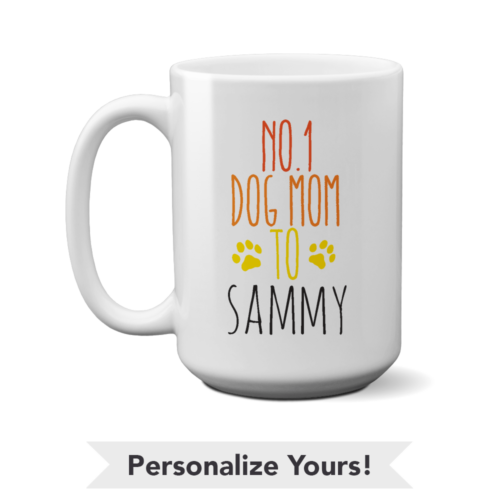 No. 1 Dog Mom Personalized 15 oz. Mug