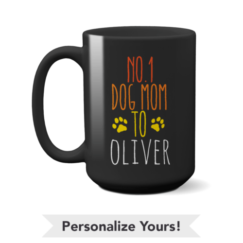 No. 1 Dog Mom Personalized 15 oz. Black Mug