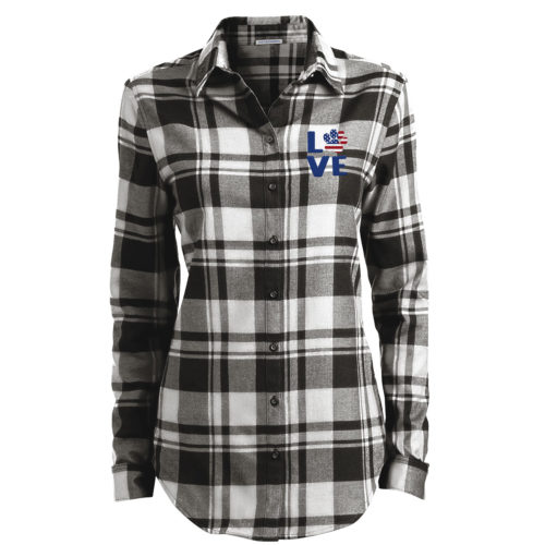 Love Paw USA Embroidered Ladies Flannel Shirt