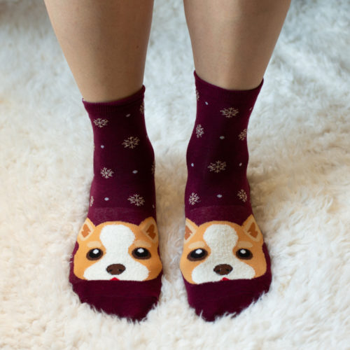 Burgundy Dog Face Socks