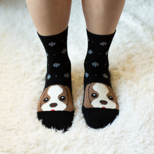 Black Snowflake Puppy Face Socks