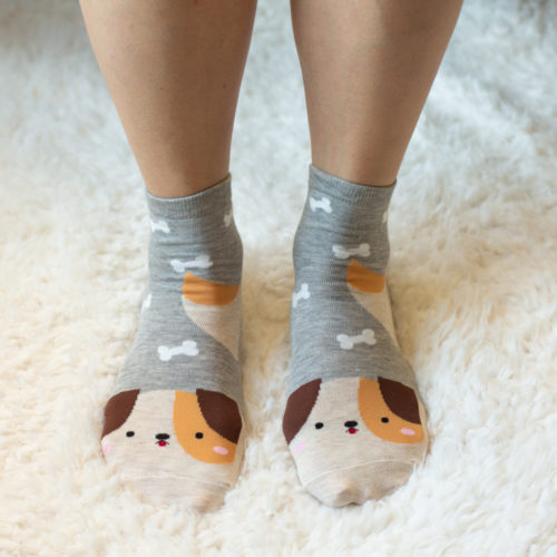 Gray/Brown Puppy Face Socks