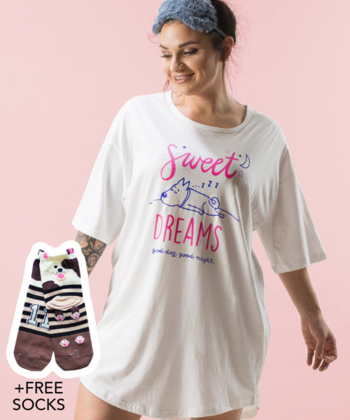 Sweet Dreams One Size Sleepshirt + FREE SOCKS
