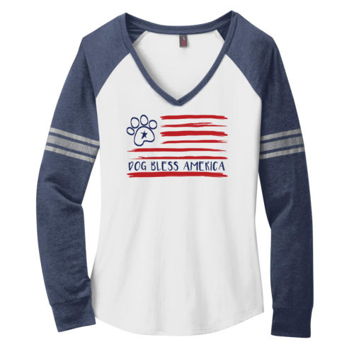Dog Bless America Varsity V-Neck Long Sleeve Shirt