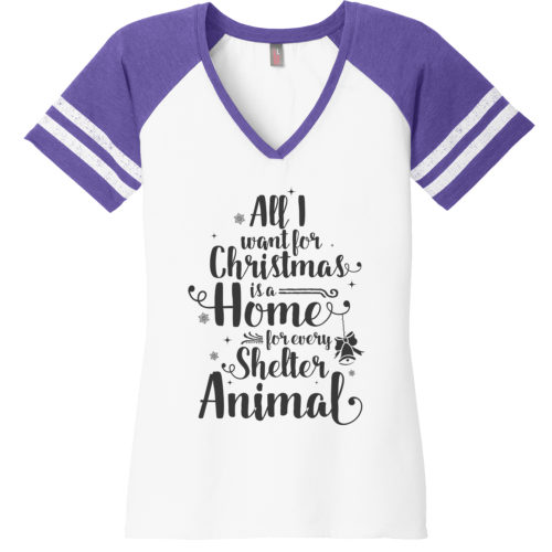 A Home For Every Shelter Animal Varsity V-Neck Tee