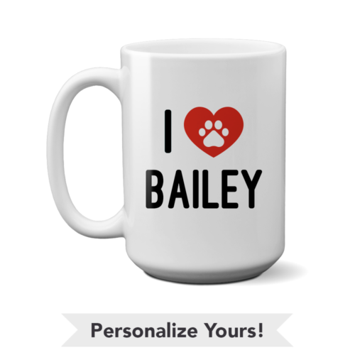 Black & Red iLove Personalized 15 oz. Mug
