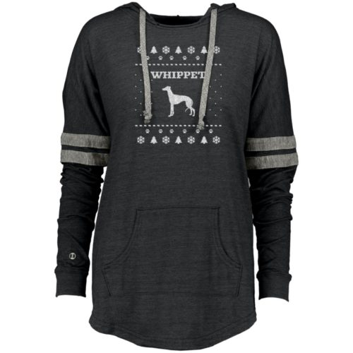 Whippet Christmas Varsity Slouchy Hoodie