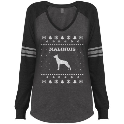 Malinois Christmas Varsity V-Neck Long Sleeve Shirt