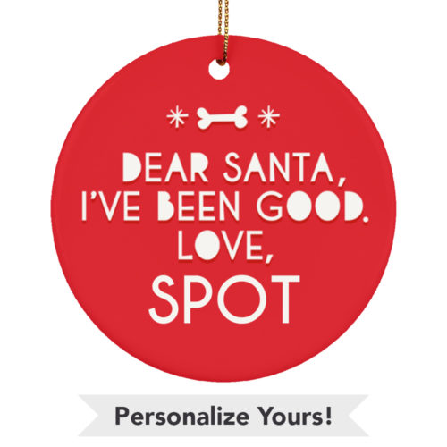 Dear Santa Personalized Ceramic Circle Ornament