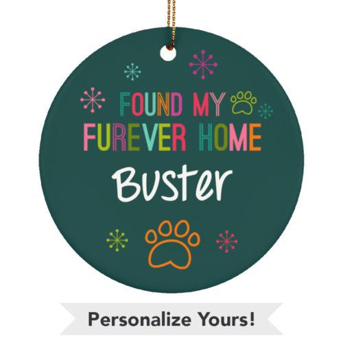 Multicolor Furever Home Personalized Ceramic Circle Ornament