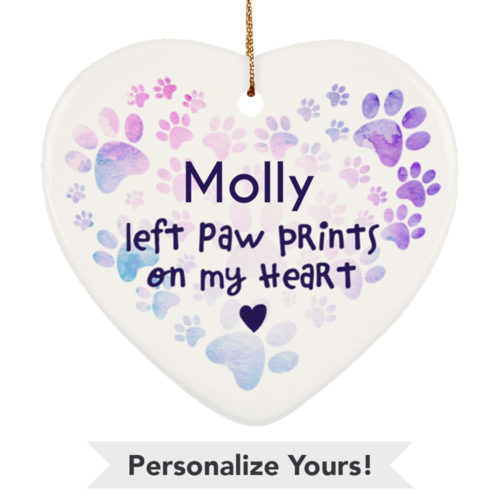 Heart Paw Watercolor Personalized Ceramic Heart Ornament