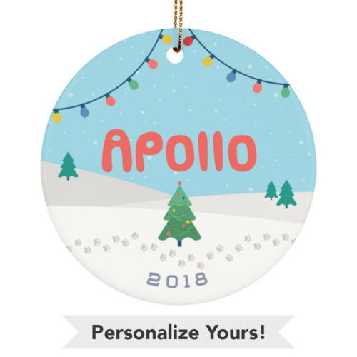Winter Wonderland Personalized Ceramic Circle Ornament