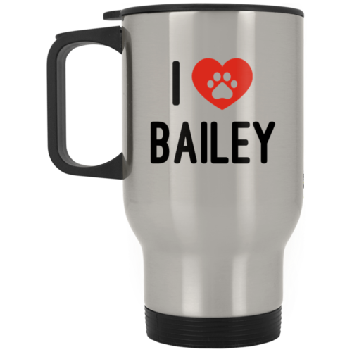 Black & Red iLove Personalized Silver Stainless Travel Mug