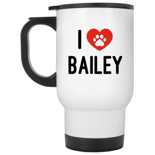 Black & Red iLove Personalized White Travel Mug